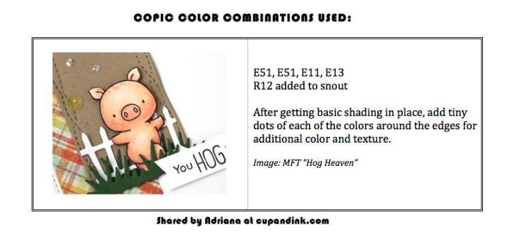 MFT Hog Heaven copic color chart
