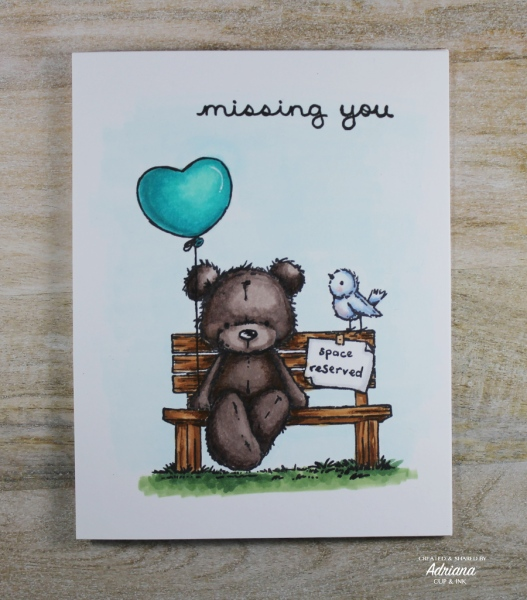 Missing You greeting card, image from Space Reserved stamp set by Penny Black. Card by Adriana at cupandink.com