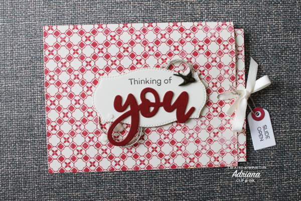 Any occasion greeting card, ribbon slider card
