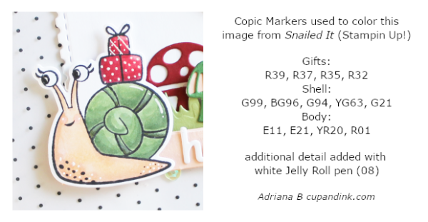 copic marker combinations used to color image (Snailed it! by Stampin' UP!)