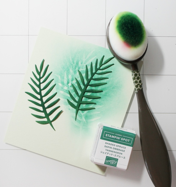 die cut palm fronds (Stampin' Up!), blend ink towards the center to provide dimension